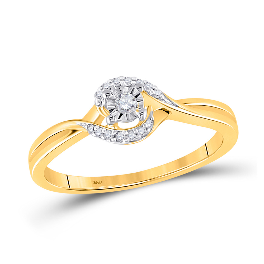 10kt Yellow Gold Womens Round Diamond Solitaire Bridal Wedding Engagement Ring 1//20 Cttw