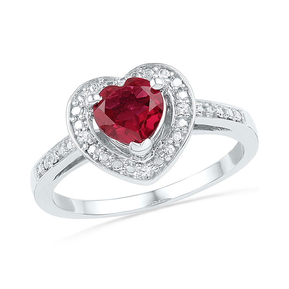 Sterling Silver Womens Round Lab-Created Ruby Heart Diamond Ring 1 Cttw