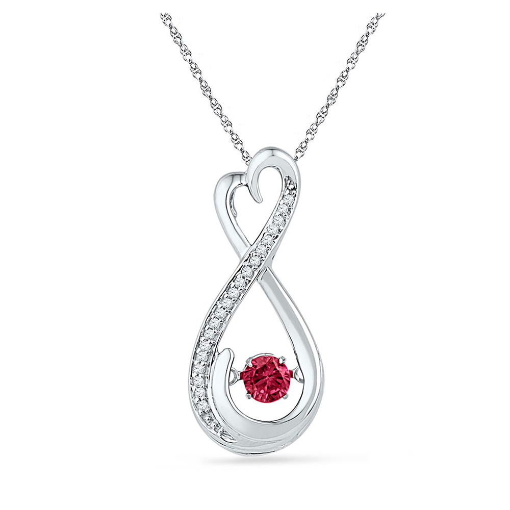 Sterling Silver Womens Round Lab-Created Ruby Diamond Infinity Pendant 1/3 Cttw