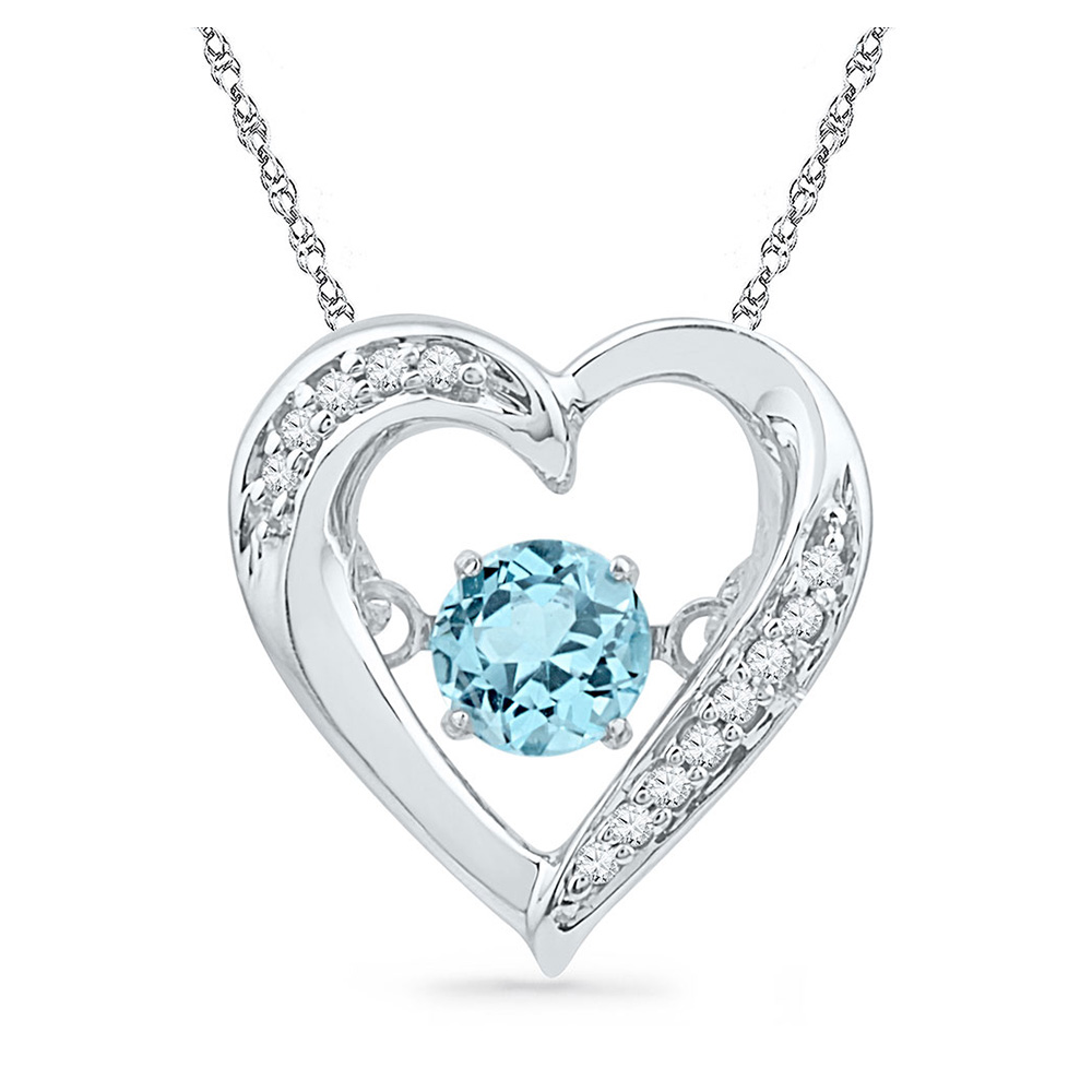 Sterling Silver Womens Round Lab-Created Blue Topaz Heart Pendant 1/3 Cttw