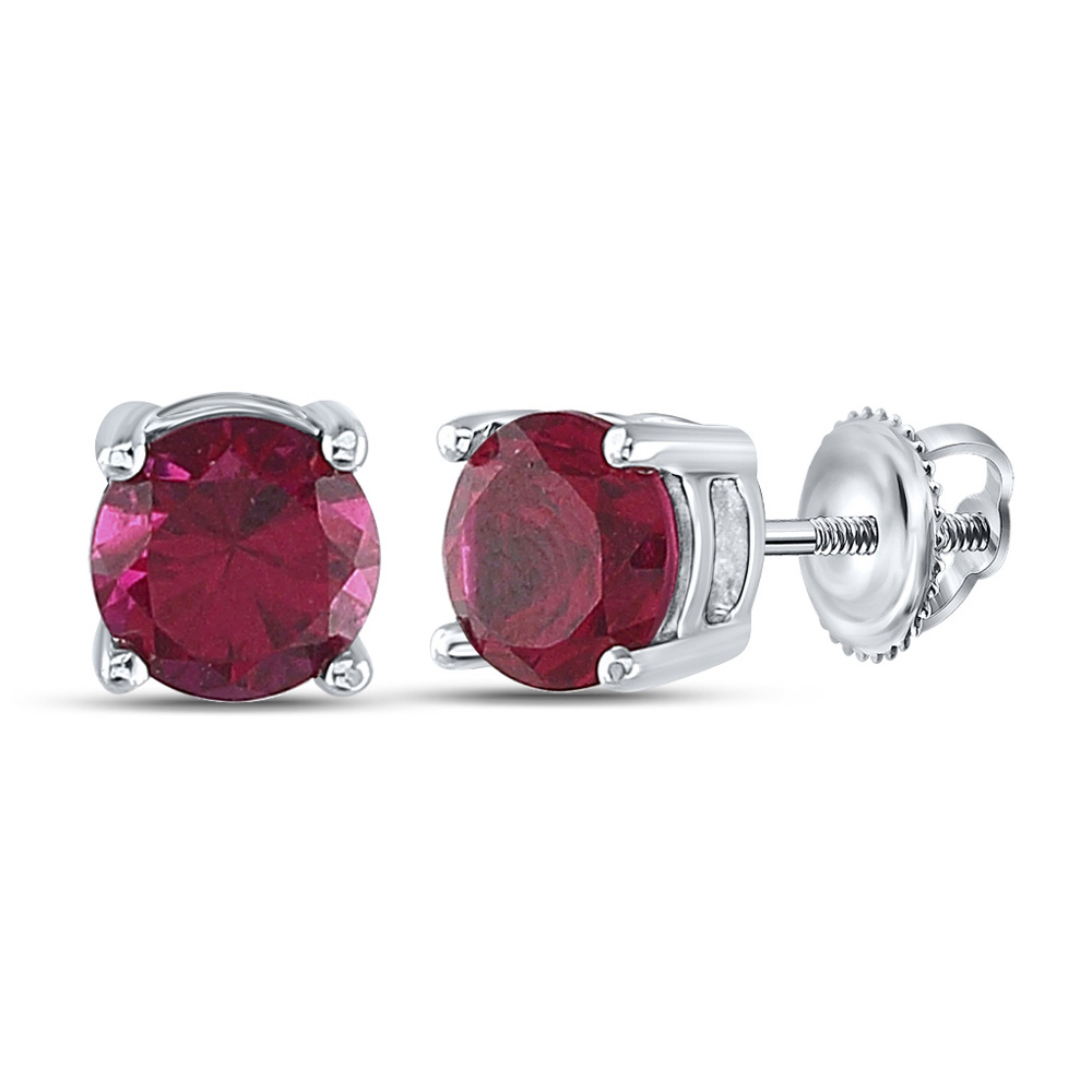 Sterling Silver Womens Round Lab-Created Ruby Stud Earrings 2 Cttw