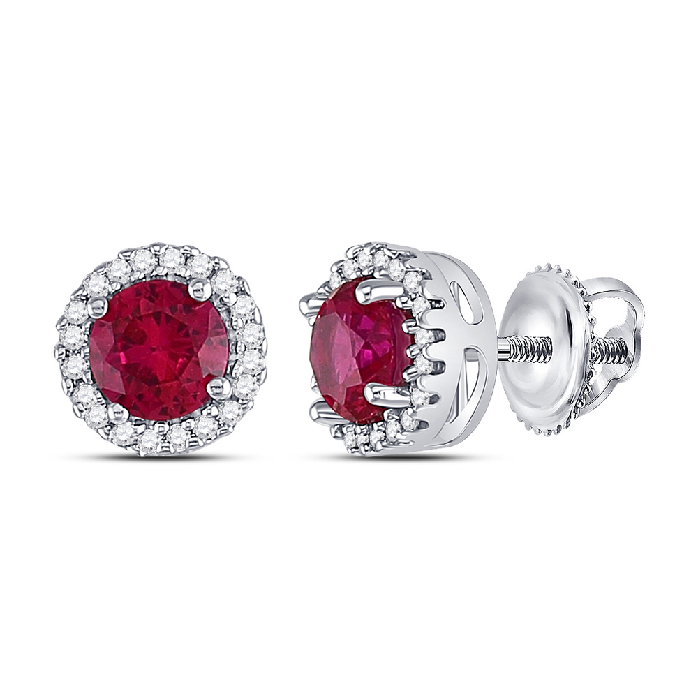 Sterling Silver Womens Round Lab-Created Ruby Solitaire Stud Earrings 1-1/3 Cttw
