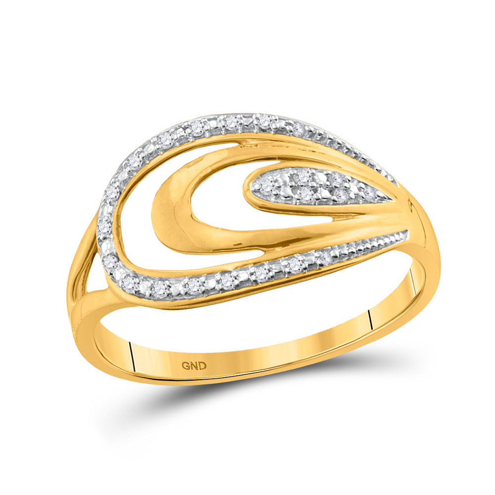 10Kt Yellow Gold Womens Round Diamond Woven Fashion Band Ring 1//20 Cttw