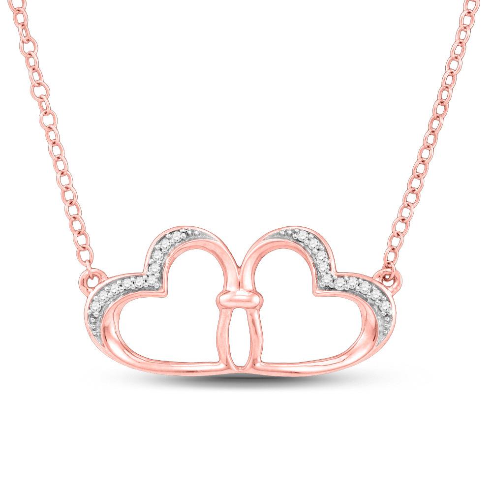10kt Rose Gold Womens Round Diamond Heart Pendant Necklace 1/20 Cttw