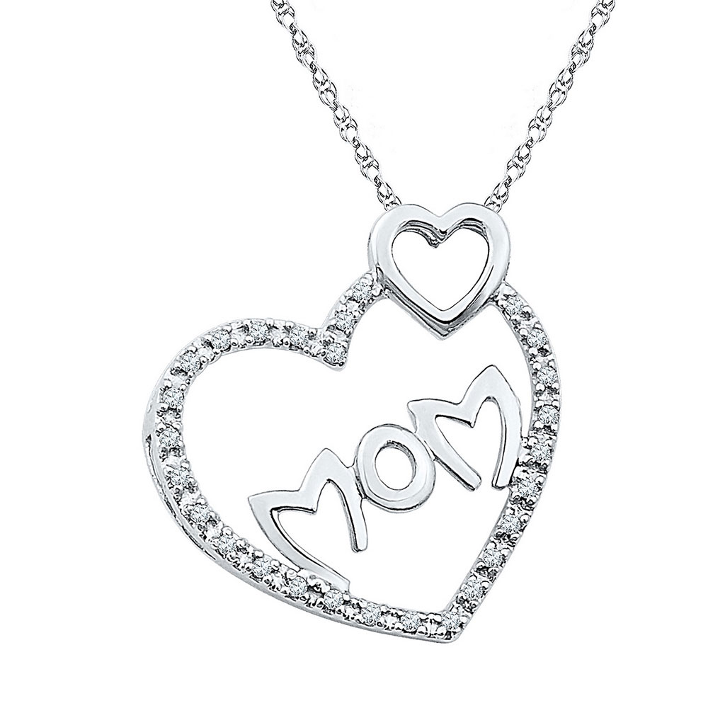 Sterling Silver Womens Round Diamond Double Heart Pendant 1//10 Cttw