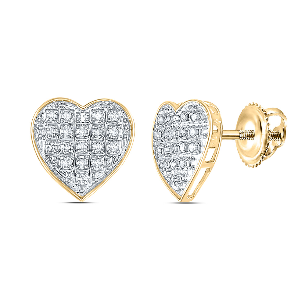 10kt Yellow Gold Womens Round Diamond Heart Cluster Earrings 1/10 Cttw