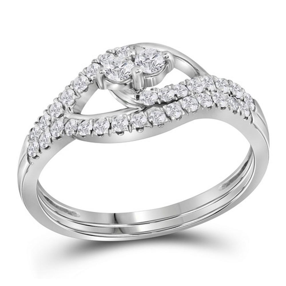 10kt White Gold Round Diamond 2-Stone Bridal Wedding Ring Band Set 1/2 Cttw