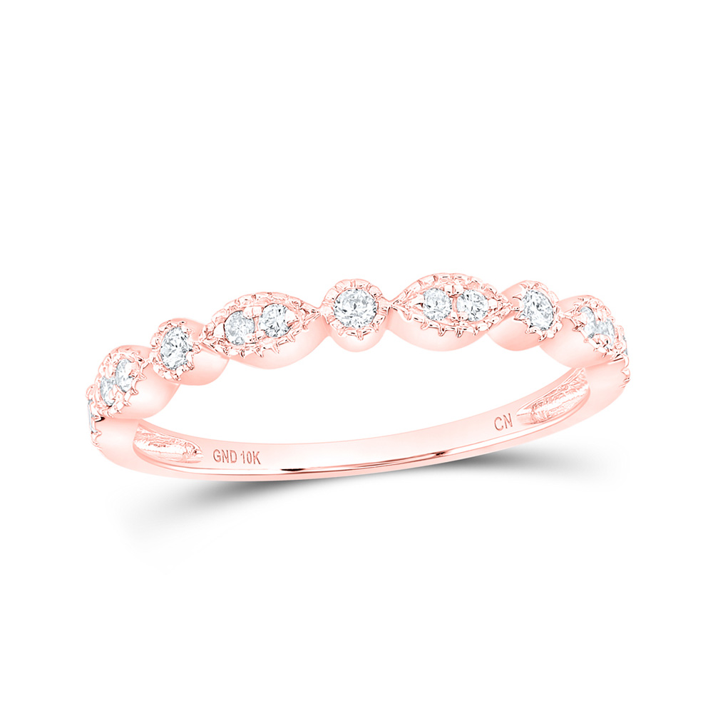 10kt Rose Gold Womens Round Diamond Marquise Dot Stackable Band Ring 1/6 Cttw