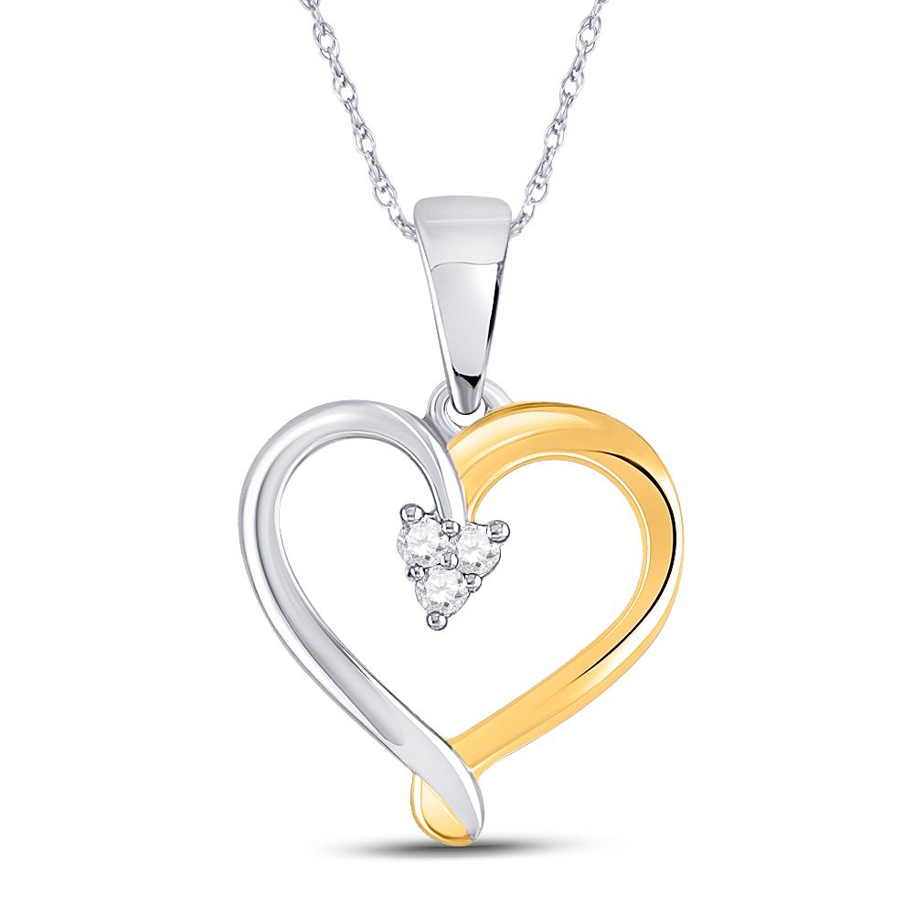 Sterling Silver Womens Round Diamond Heart Key Love Pendant 1//20 Cttw