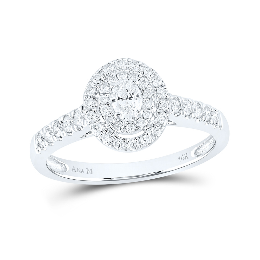 14kt White Gold Oval Diamond Halo Bridal Wedding Engagement Ring 1/2 Cttw