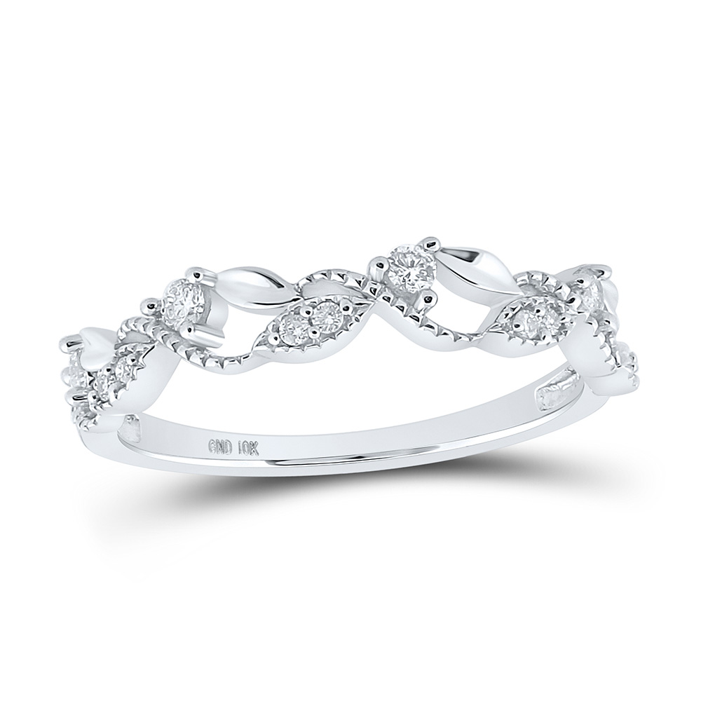 10kt White Gold Womens Round Diamond Vine Stackable Band Ring 1//6 Cttw