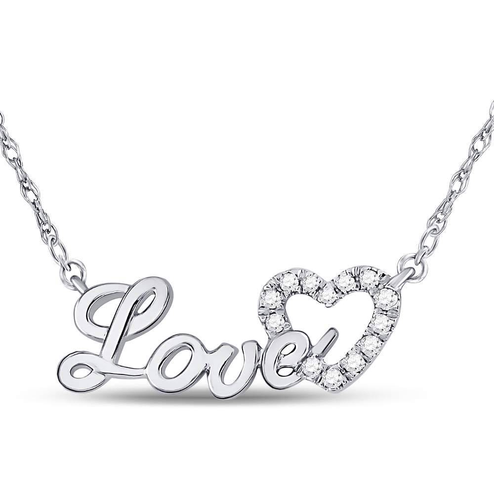10kt White Gold Womens Round Diamond Love Heart Pendant Necklace 1/6 Cttw
