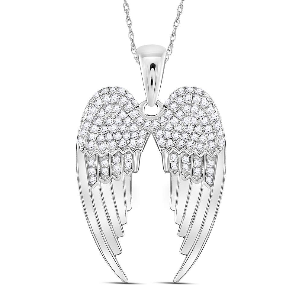 Sterling Silver Womens Round Diamond Angel Heart Religious Pendant 1//8 Cttw