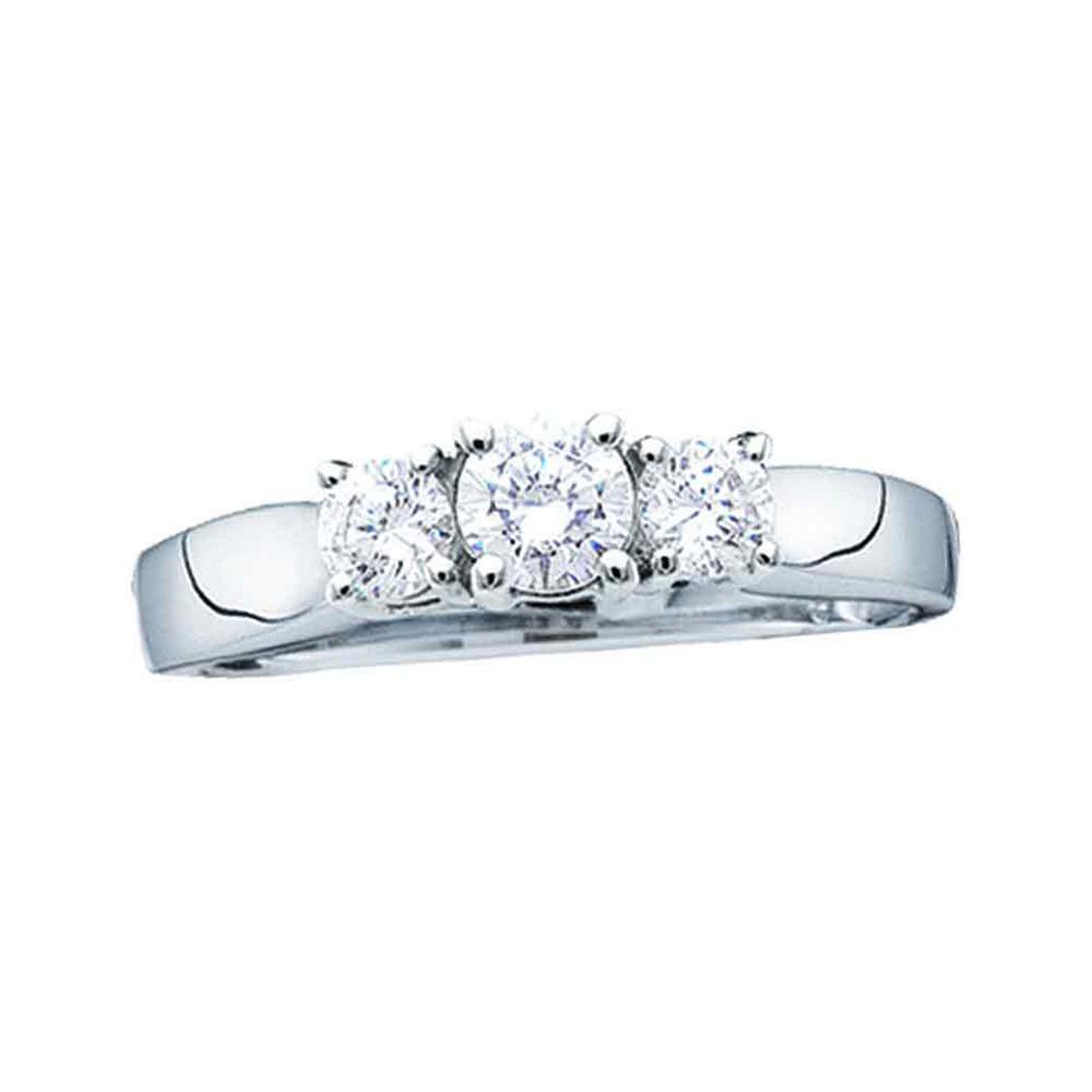 14kt Yellow Gold Womens Round Diamond 3-stone Bridal Wedding Engagement Ring 3/4 Cttw