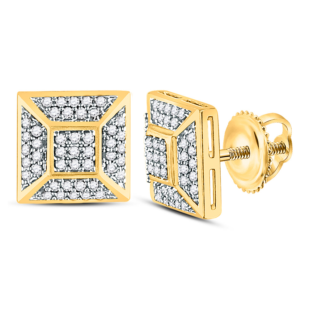 10kt Yellow Gold Mens Round Diamond Square Cluster Stud Earrings 1//6 Cttw