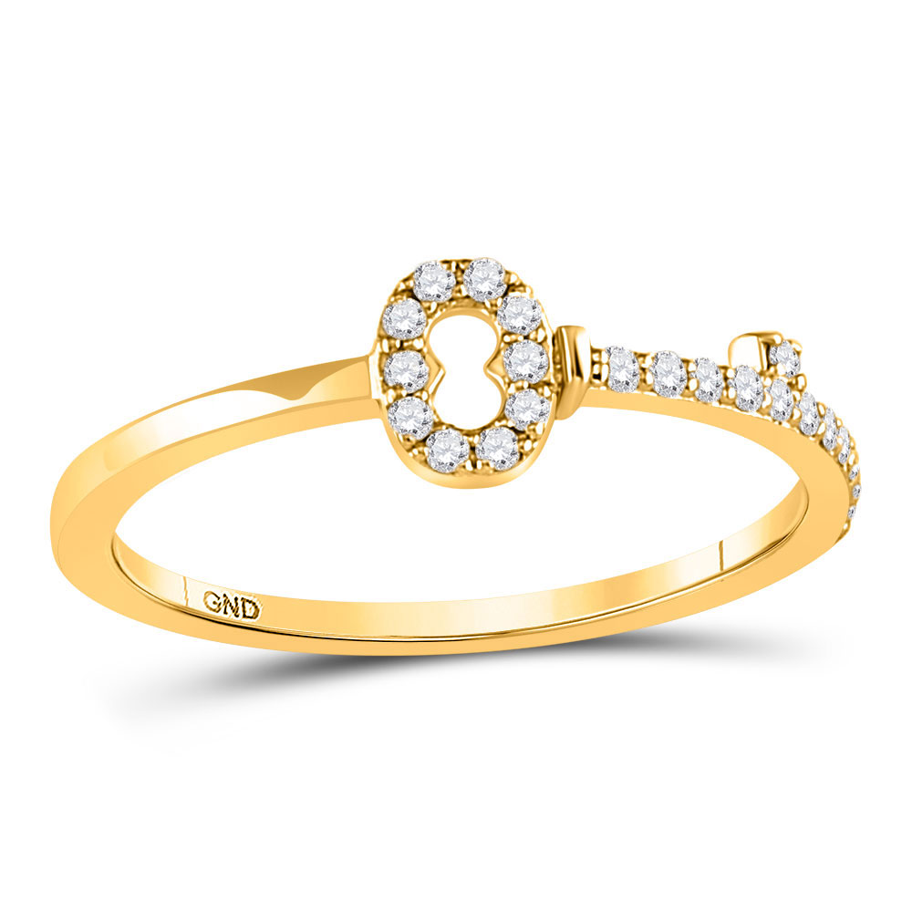 10kt Yellow Gold Womens Round Diamond Key Stackable Band Ring 1/8 Cttw