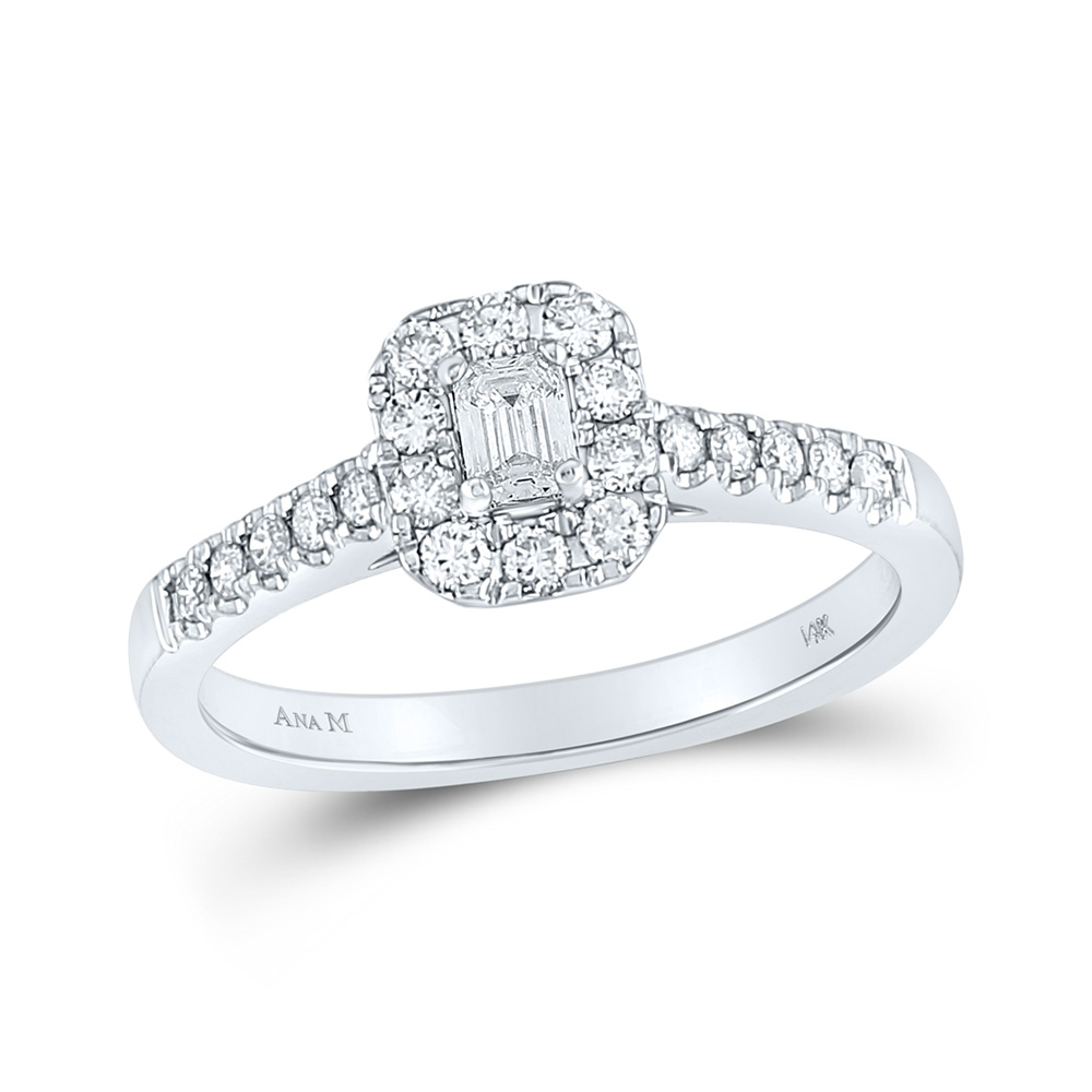 14kt White Gold Emerald Diamond Solitaire Bridal Wedding Engagement Ring 1/2 Cttw