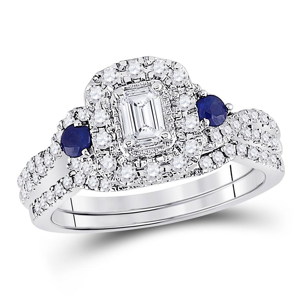 14kt White Gold Emerald Diamond Bridal Wedding Ring Band Set 3/4 Cttw