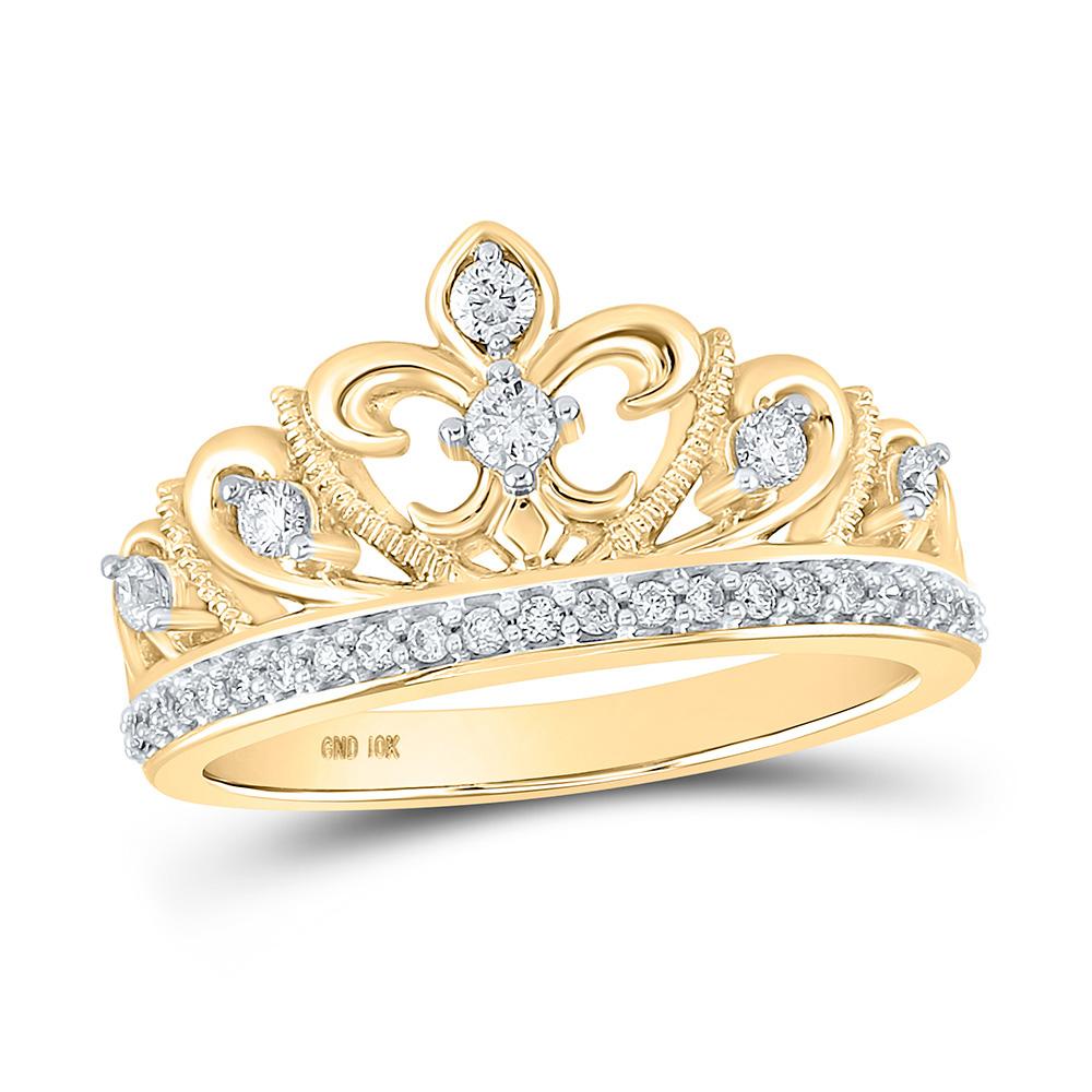 10kt Yellow Gold Womens Round Diamond Fleur-de-lis Crown Ring 1/3 Cttw