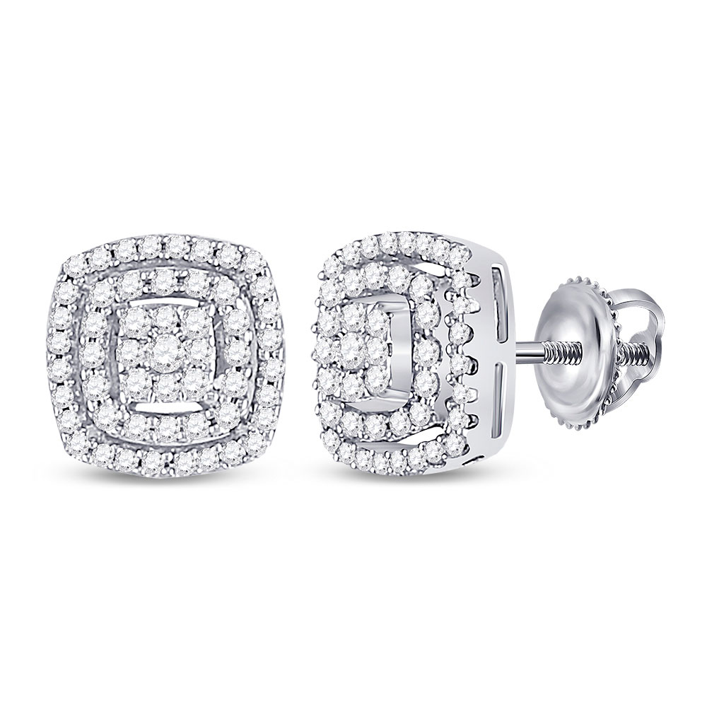 10kt White Gold Womens Round Diamond Square Frame Cluster Earrings 1/4 Cttw