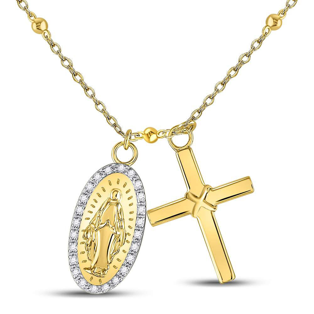 Sterling Silver Womens Round Diamond Rosary Cross Necklace 1/10 Cttw