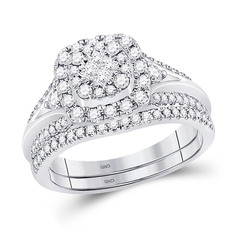 14kt White Gold Princess Diamond Bridal Wedding Ring Band Set 3/4 Cttw
