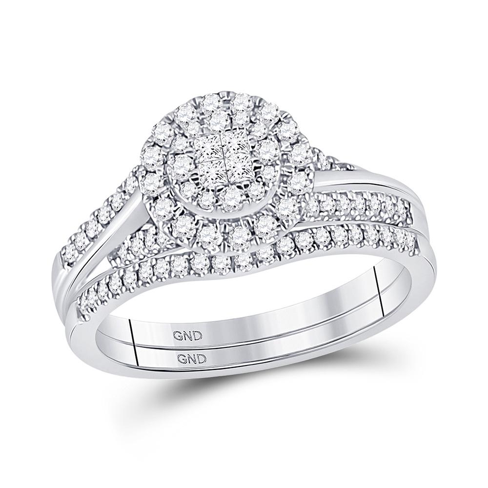14kt White Gold Princess Diamond Bridal Wedding Ring Band Set 1/2 Cttw