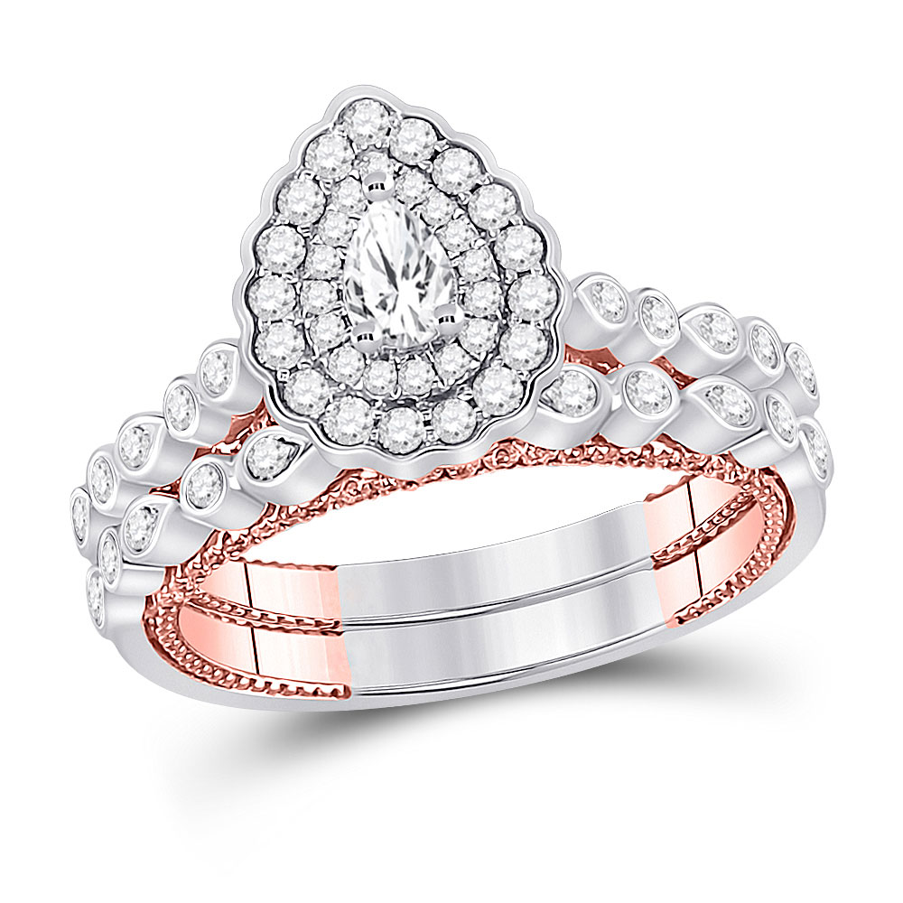14kt Two-tone Gold Pear Diamond Bridal Wedding Ring Band Set 1 Cttw