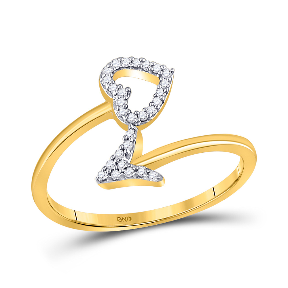 10kt Yellow Gold Womens Round Diamond Heart Arrow Band Ring 1/10 Cttw