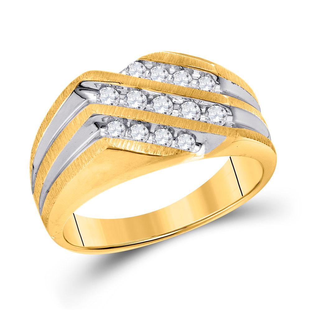 10kt Two-tone Gold Mens Round Diamond Diagonal 3 Row Fashion Ring 1/2 Cttw