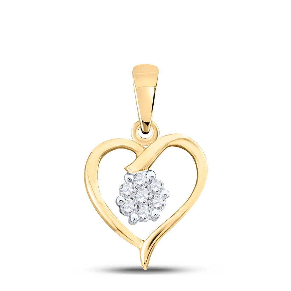 10kt Yellow Gold Womens Round Diamond Flower Cluster Heart Pendant 1/12 Cttw