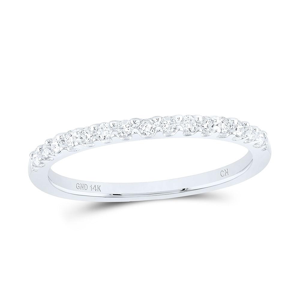14kt White Gold Womens Round Diamond Slender Stackable Wedding Band 1//6 Cttw Gift for Women