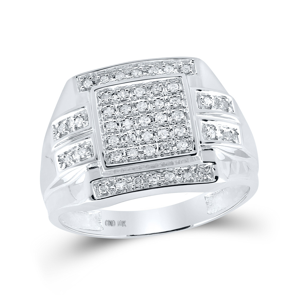 White Gold Fn Sapphire /& Diamond Pinky Mens Engagement Wedding Band Ring 2Ct