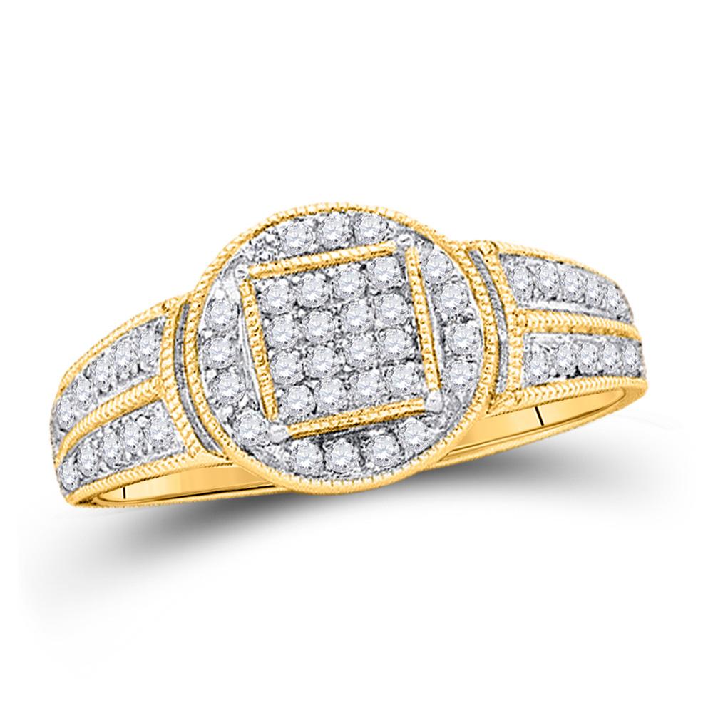 Diamond Circle Frame Cluster Pendant 1//5ct 10k Yellow Gold