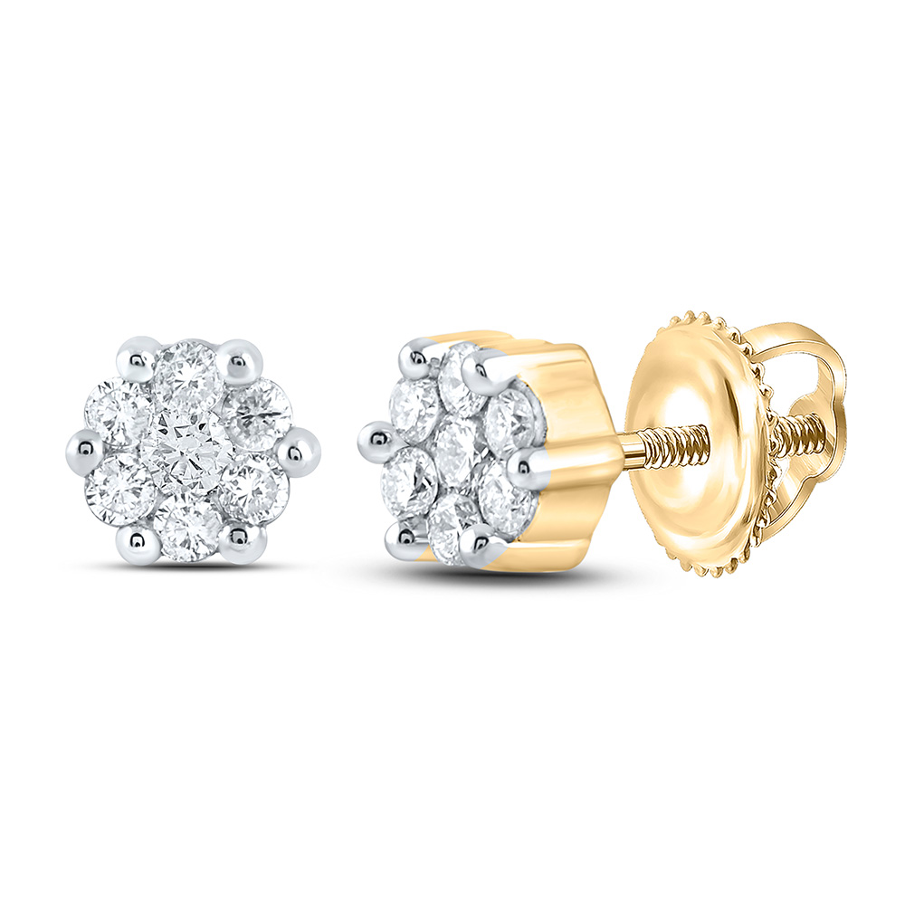 10kt Yellow Gold Womens Round Diamond Flower Cluster Earrings 1/6 Cttw
