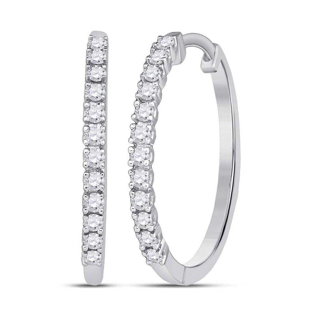 10kt White Gold Womens Round Diamond Slender Single Row Hoop Earrings 1/4 Cttw