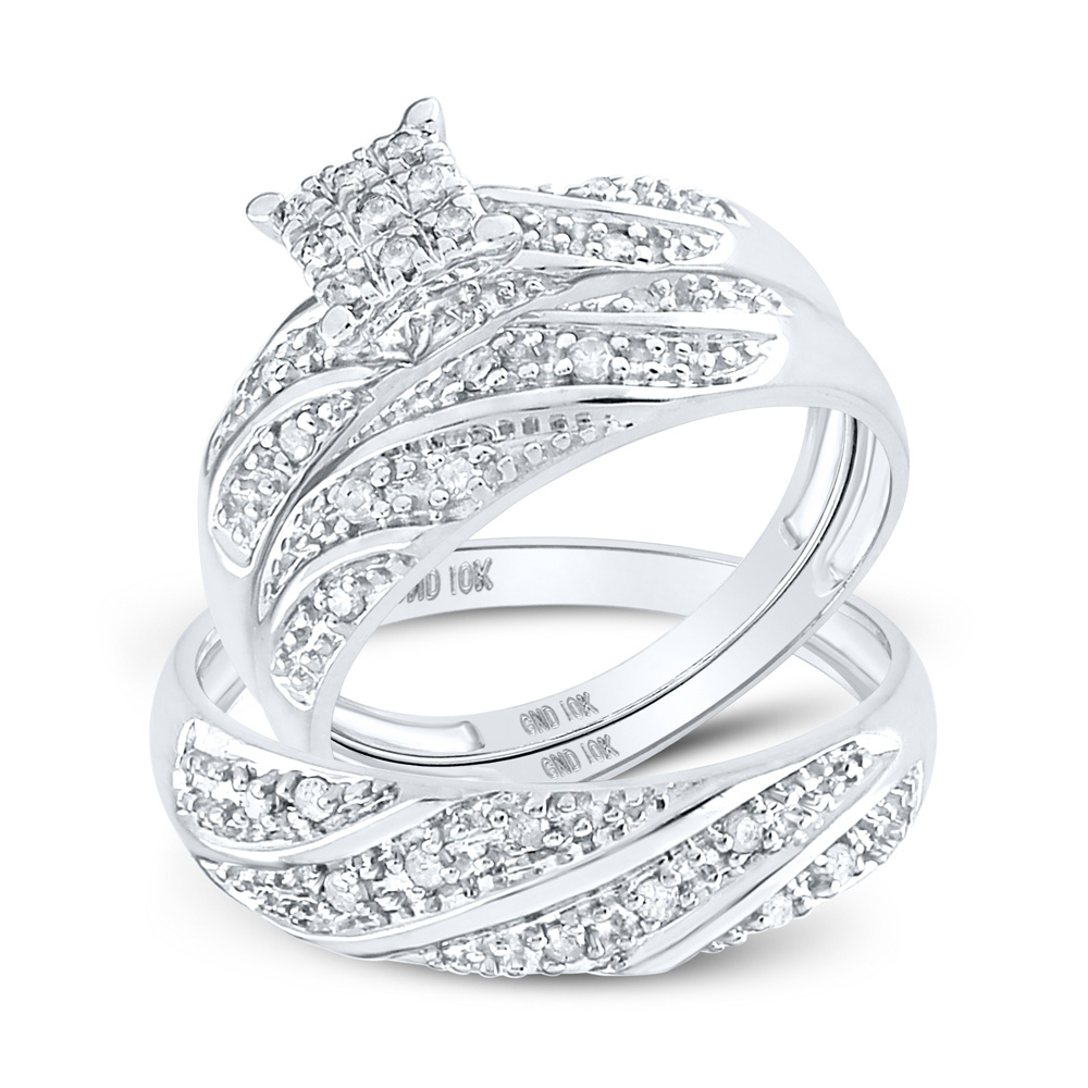 It is a picture of Details zu 38kt White Gold His Hers Round Diamond Square Matching Bridal Wedding Ring Set