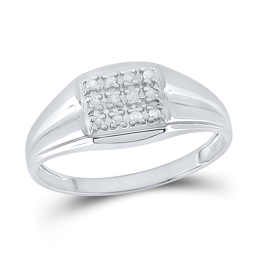 Sterling Silver Mens Round Diamond Square Frame Cluster Ring 1//4 Cttw