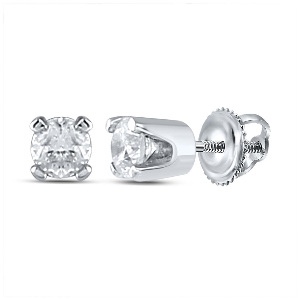 14kt White Gold Infant Girls Round Diamond Solitaire Earrings 1/20 Cttw
