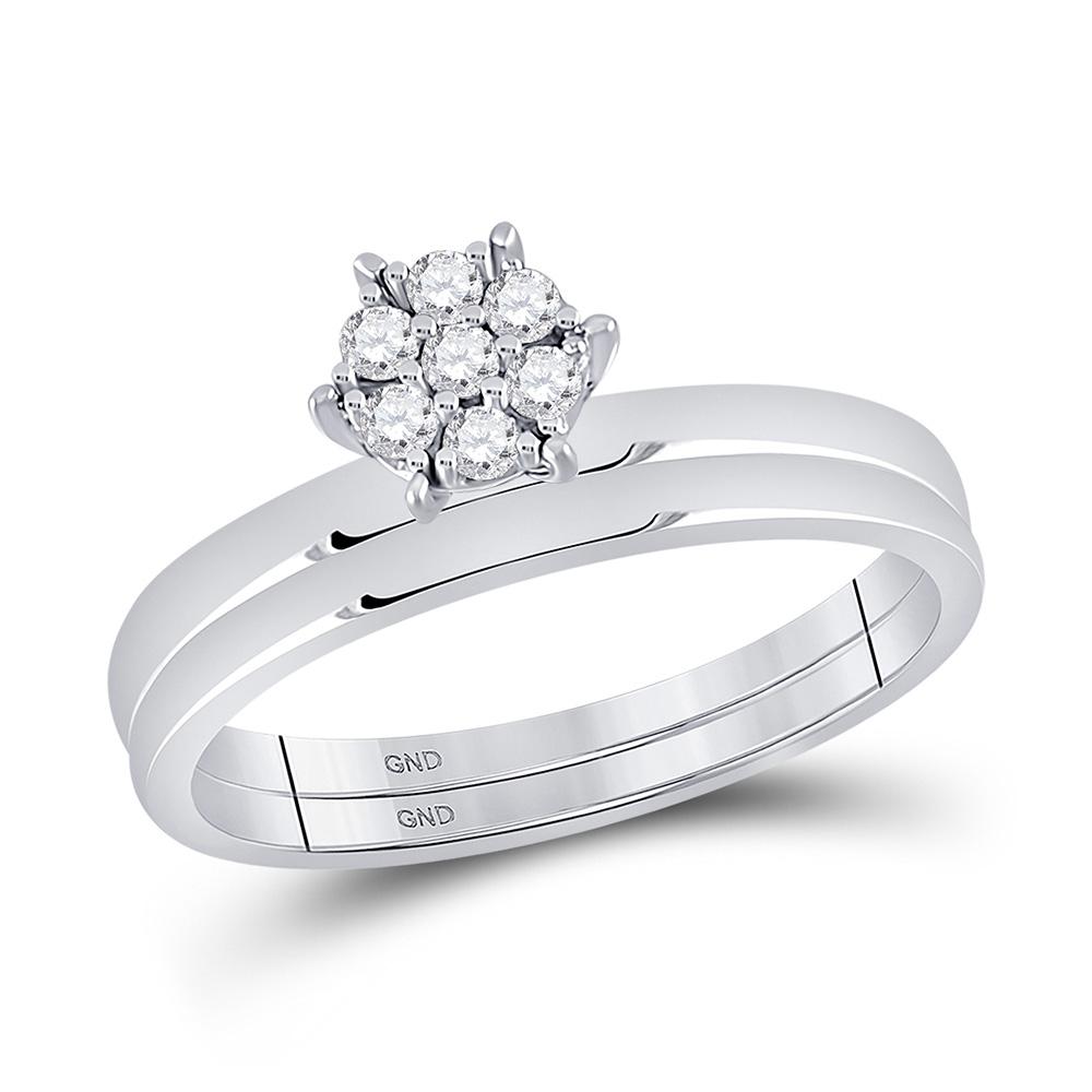 10kt White Gold Round Diamond Cluster Bridal Wedding Ring Band Set 1/6 Cttw
