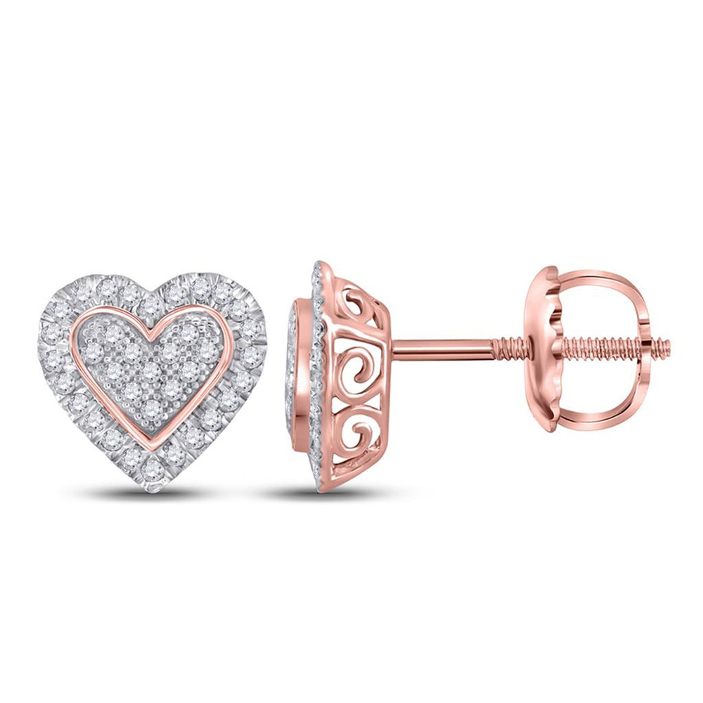 10kt Two-tone Gold Womens Round Diamond Heart Earrings 1/4 Cttw