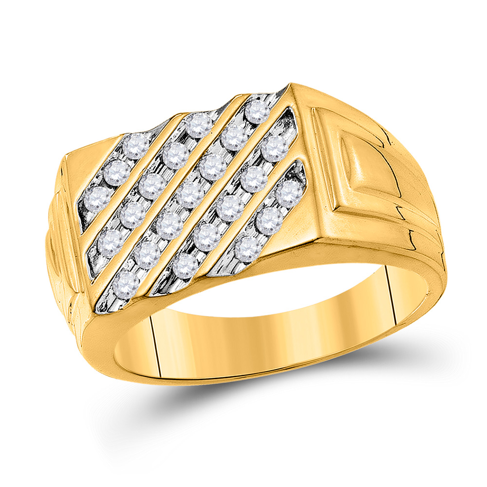 10kt Yellow Gold Mens Round Channel-set Diamond Diagonal Stripe Band Ring 1/2 Cttw