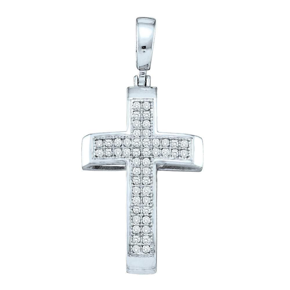 Sterling Silver Womens Round Pave-set Diamond Cross Pendant 1/6 Cttw