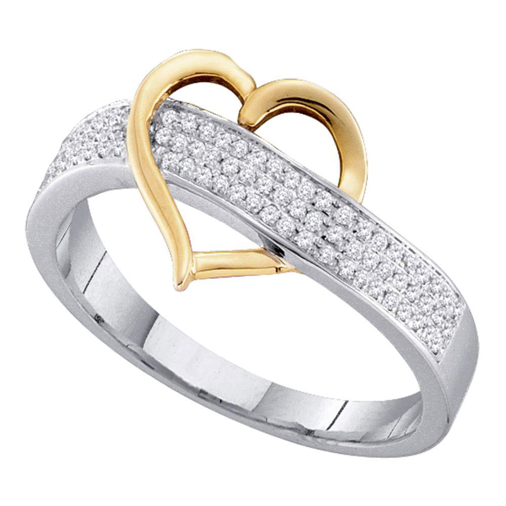 Two-tone Sterling Silver Womens Round Diamond Heart Ring 1/6 Cttw