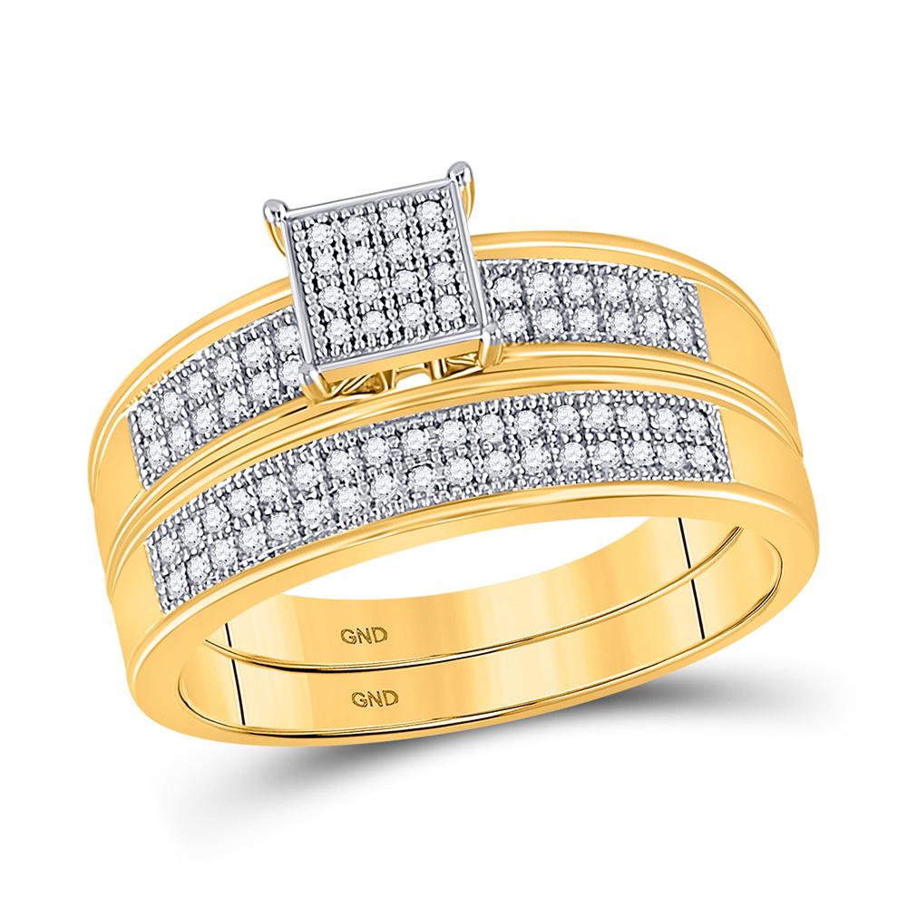 10kt Yellow Gold Round Diamond Bridal Wedding Ring Band Set 1/5 Cttw
