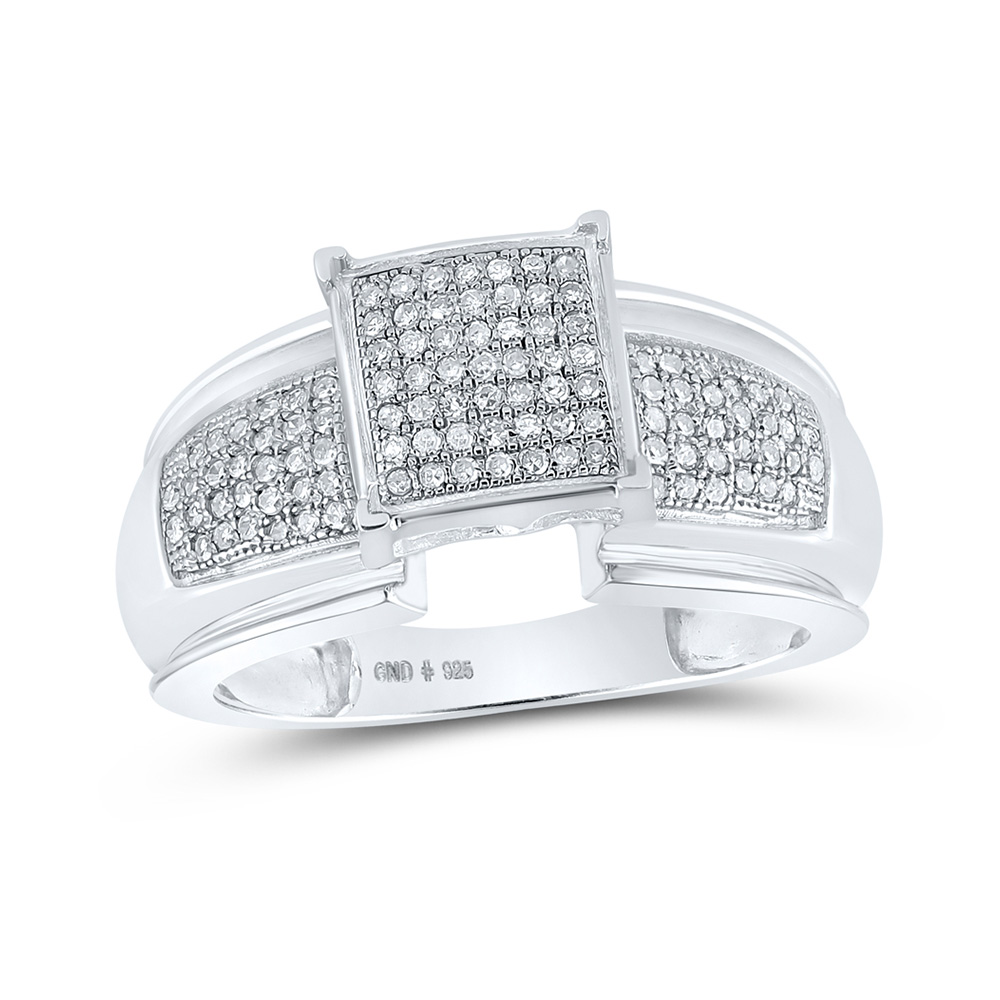 Sterling Silver Diamond Elevated Square Cluster Bridal Wedding Engagement Ring 1/3 Cttw