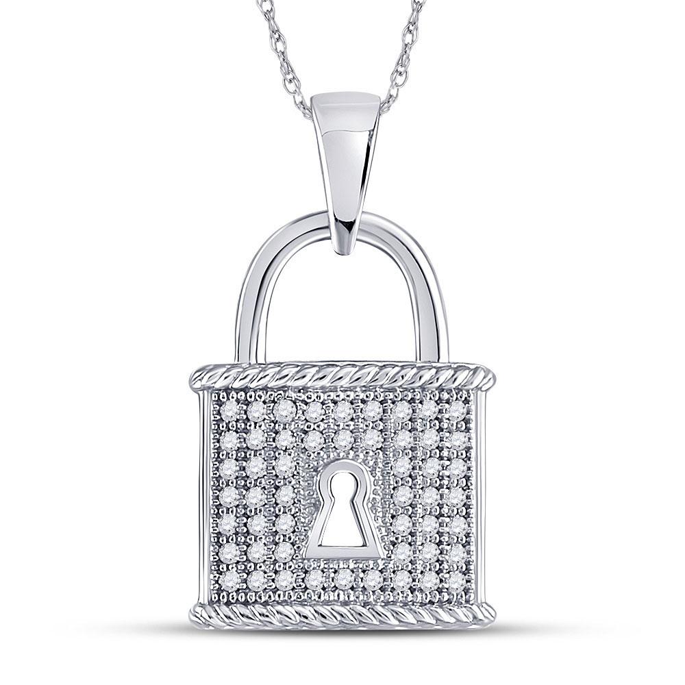 10kt White Gold Womens Round Diamond Key Lock Dangle Pendant 1/8 Cttw