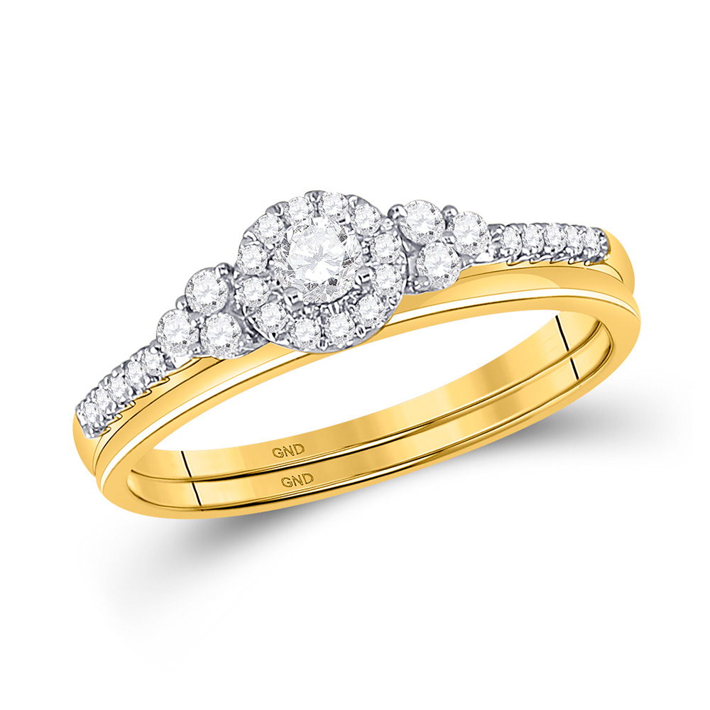 10k Yellow Gold Round Diamond Slender Wedding Bridal Engagement Ring Band Set 1/3 Cttw