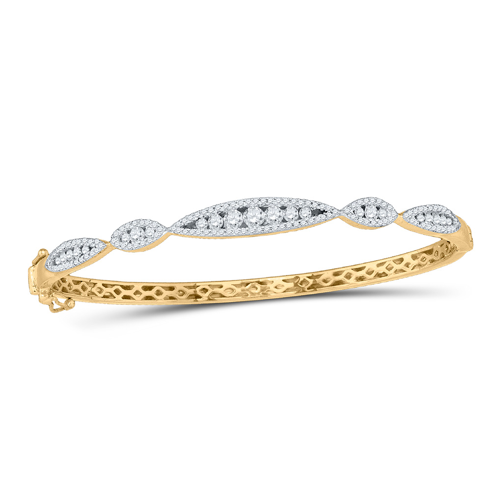 10kt Yellow Gold Womens Round Diamond Bangle Bracelet 1 Cttw