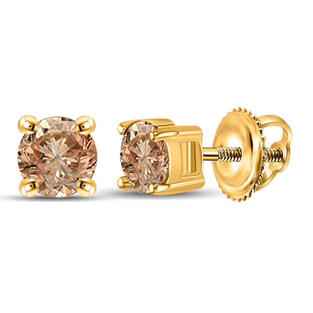 10kt Yellow Gold Round Brown Diamond Stud Earrings 1 2 Ctw Ebay